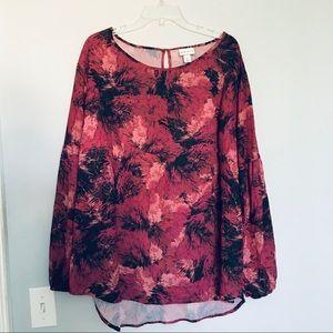Ava & Viv floral pink black and red floral blouse